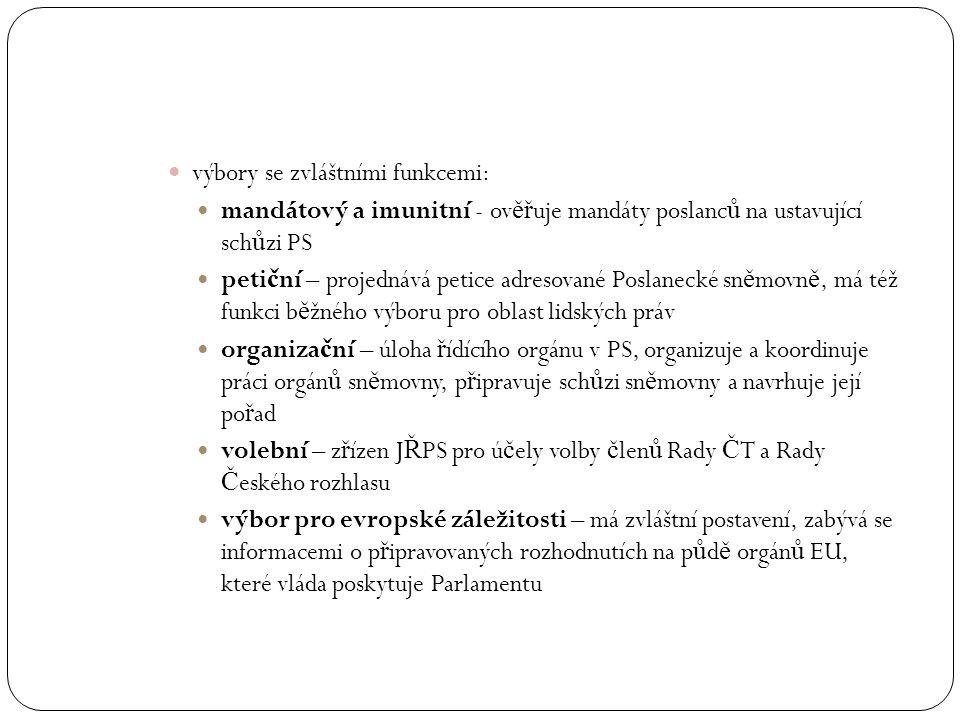 výbory se zvláštními funkcemi: