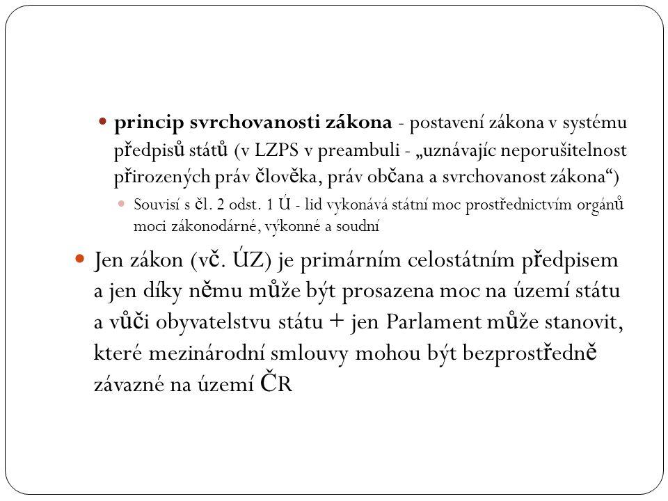 """princip svrchovanosti zákona - postavení zákona v systému předpisů států (v LZPS v preambuli - """"uznávajíc neporušitelnost přirozených práv člověka, práv občana a svrchovanost zákona )"""