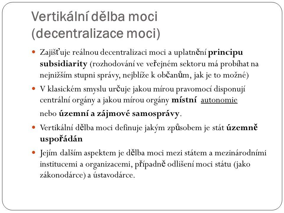 Vertikální dělba moci (decentralizace moci)