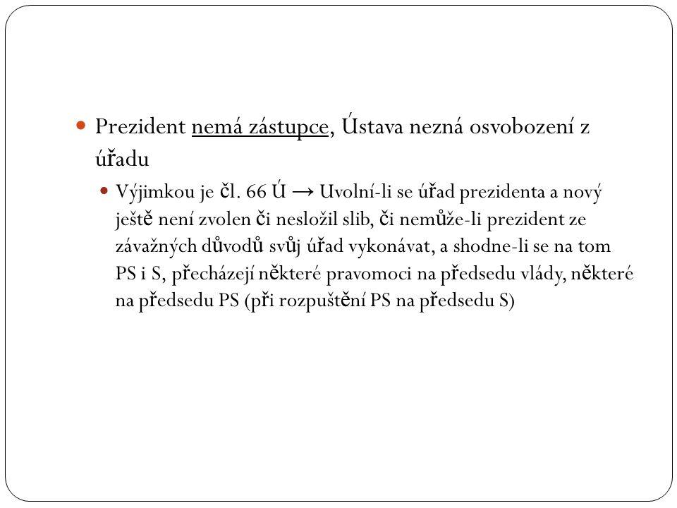 Prezident nemá zástupce, Ústava nezná osvobození z úřadu