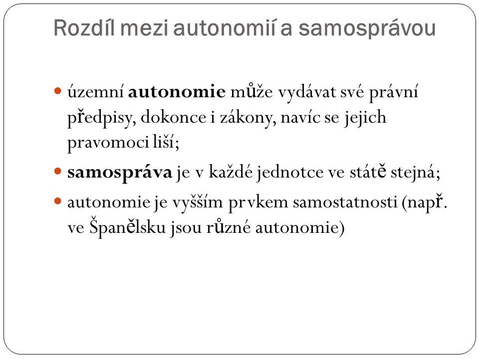 Rozdíl mezi autonomií a samosprávou