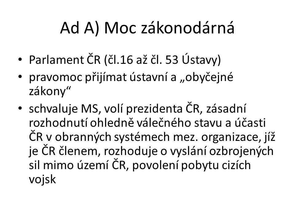 Ad A) Moc zákonodárná Parlament ČR (čl.16 až čl. 53 Ústavy)