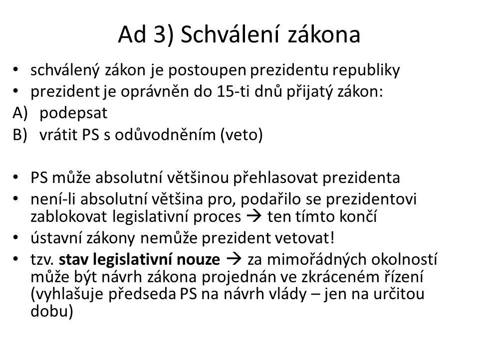 Ad 3) Schválení zákona schválený zákon je postoupen prezidentu republiky. prezident je oprávněn do 15-ti dnů přijatý zákon: