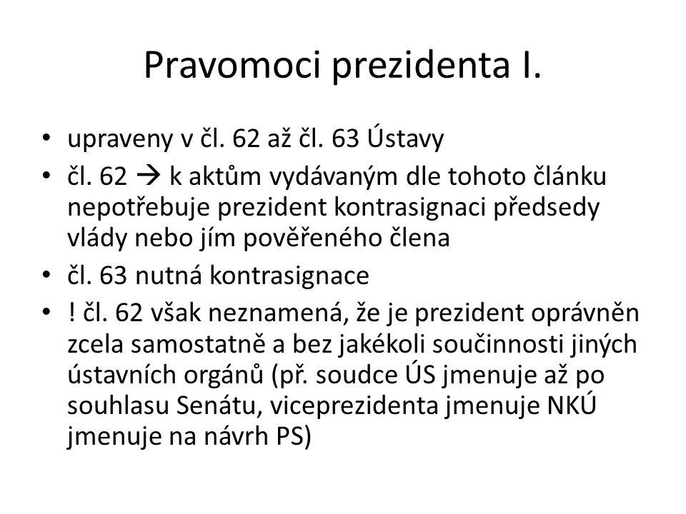 Pravomoci prezidenta I.
