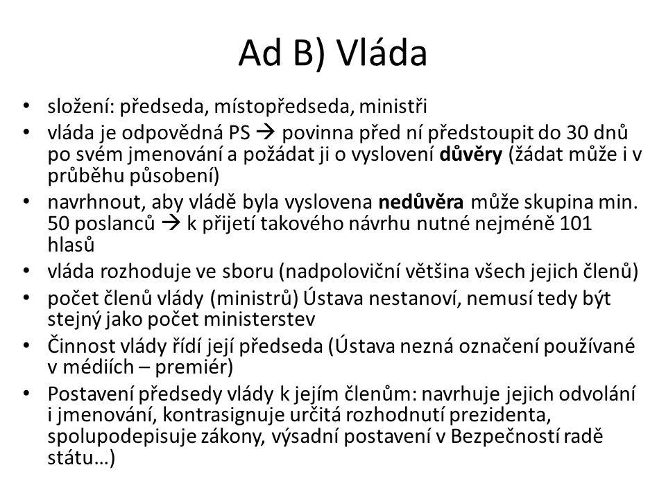 Ad B) Vláda složení: předseda, místopředseda, ministři