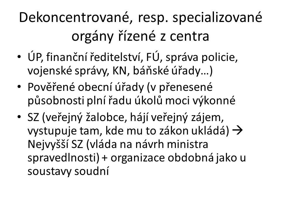 Dekoncentrované, resp. specializované orgány řízené z centra