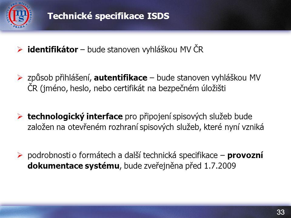 Technické specifikace ISDS