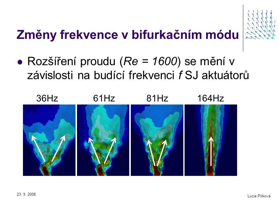 Změny frekvence v bifurkačním módu