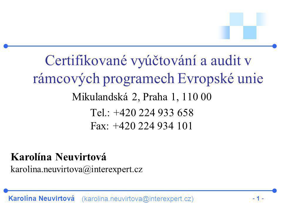 Certifikované vyúčtování a audit v rámcových programech Evropské unie