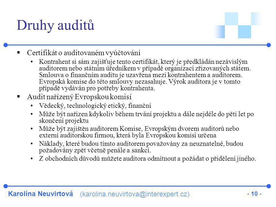 Druhy auditů Certifikát o auditovaném vyúčtování