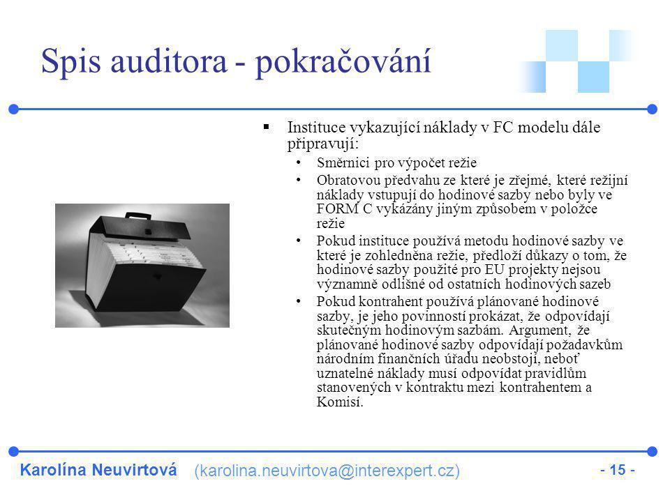 Spis auditora - pokračování