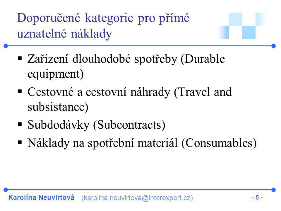 Doporučené kategorie pro přímé uznatelné náklady