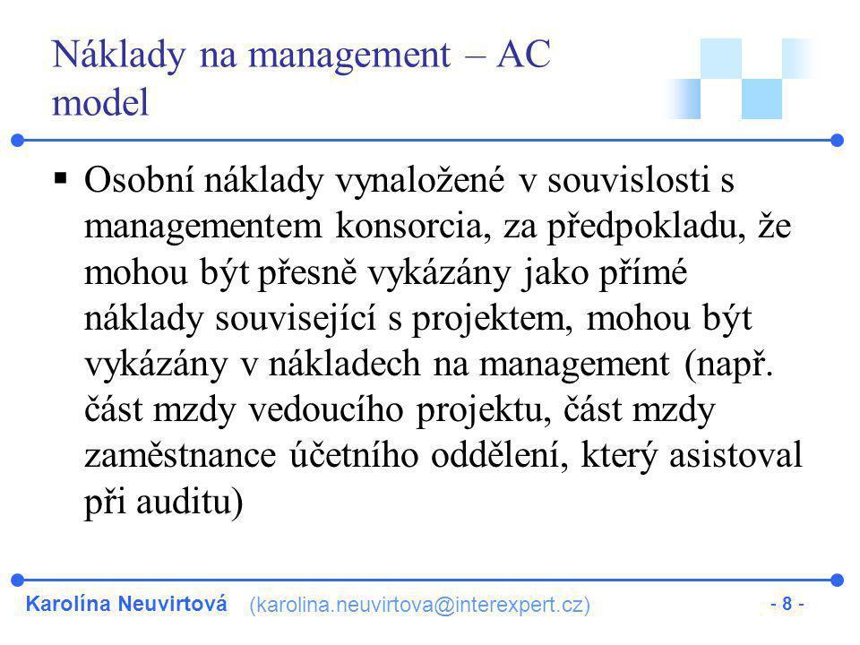 Náklady na management – AC model