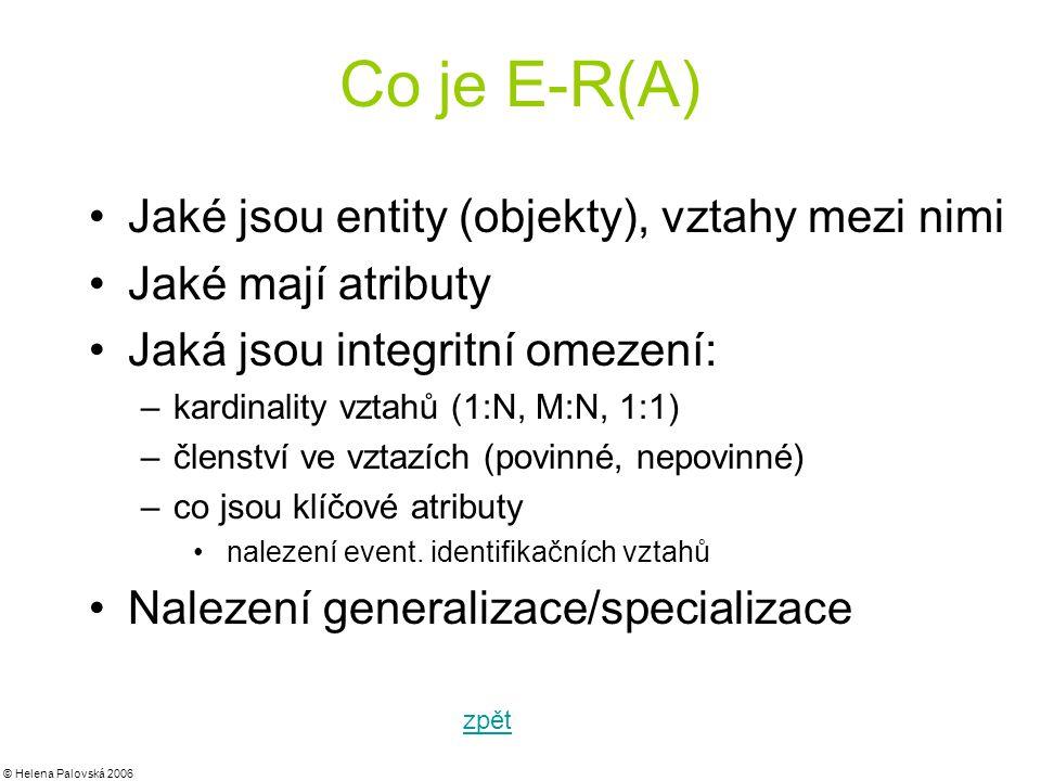 Co je E-R(A) Jaké jsou entity (objekty), vztahy mezi nimi