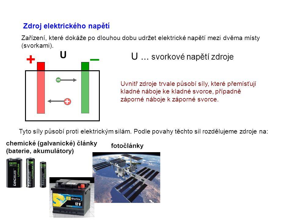 – + U U ... svorkové napětí zdroje Zdroj elektrického napětí