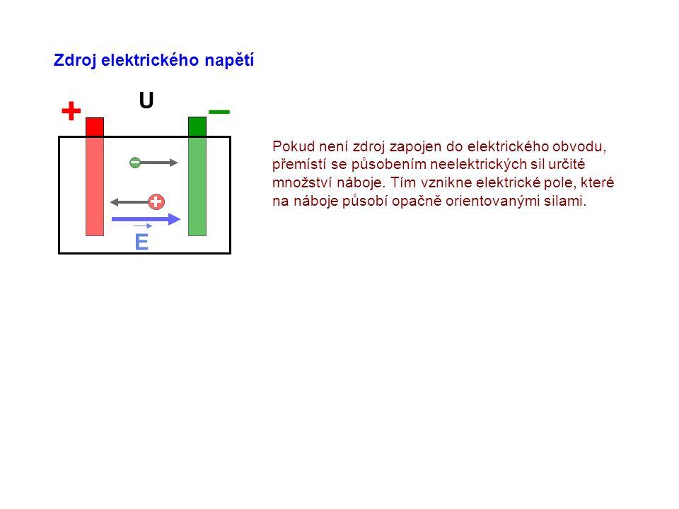 – + U E Zdroj elektrického napětí
