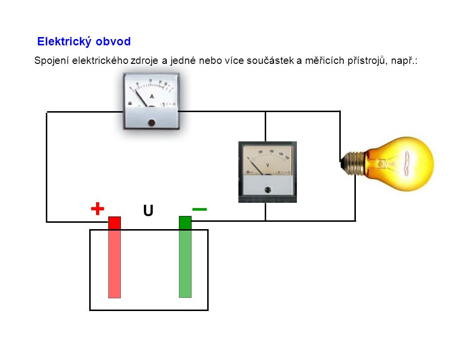 Elektrický obvod Spojení elektrického zdroje a jedné nebo více součástek a měřicích přístrojů, např.: