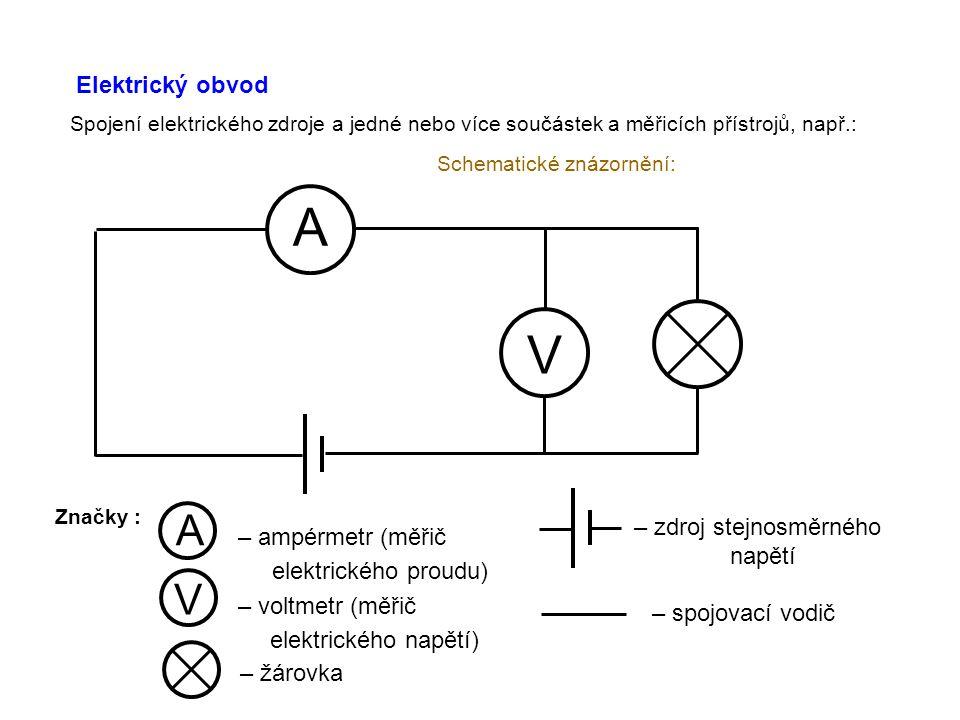 A V A – ampérmetr (měřič V – voltmetr (měřič Elektrický obvod