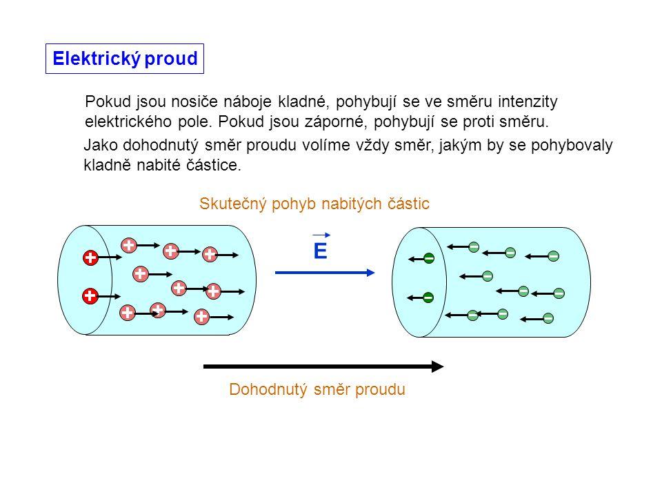 Elektrický proud Pokud jsou nosiče náboje kladné, pohybují se ve směru intenzity elektrického pole. Pokud jsou záporné, pohybují se proti směru.