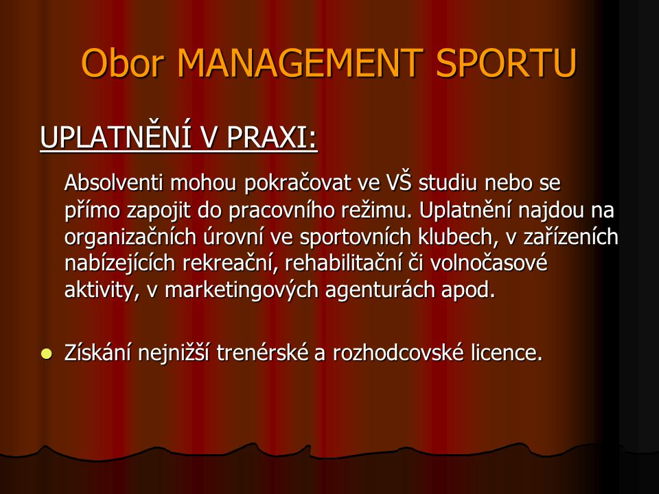 Obor MANAGEMENT SPORTU