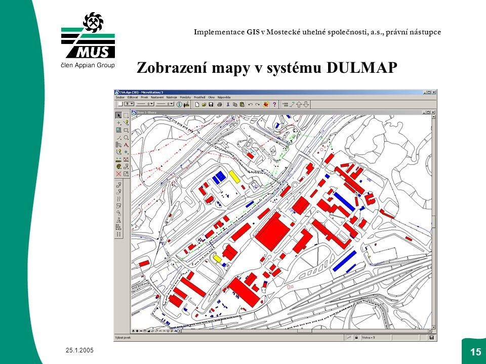 Zobrazení mapy v systému DULMAP