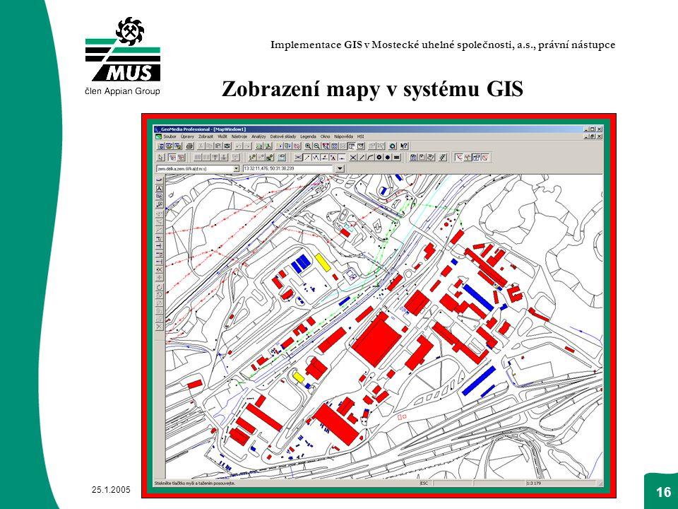Zobrazení mapy v systému GIS