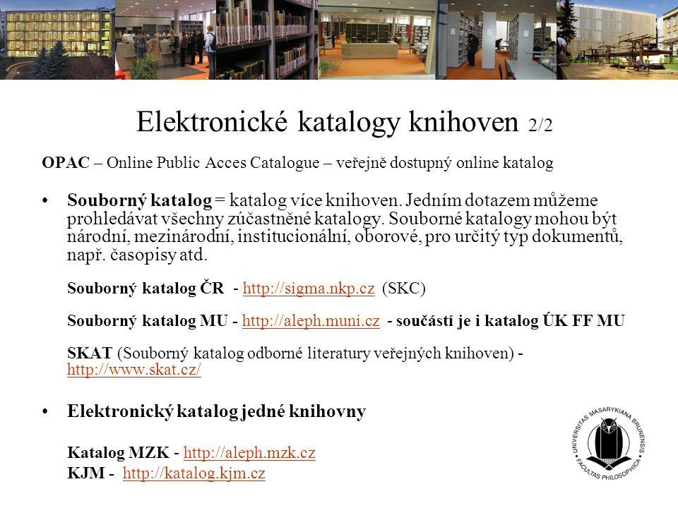 Elektronické katalogy knihoven 2/2