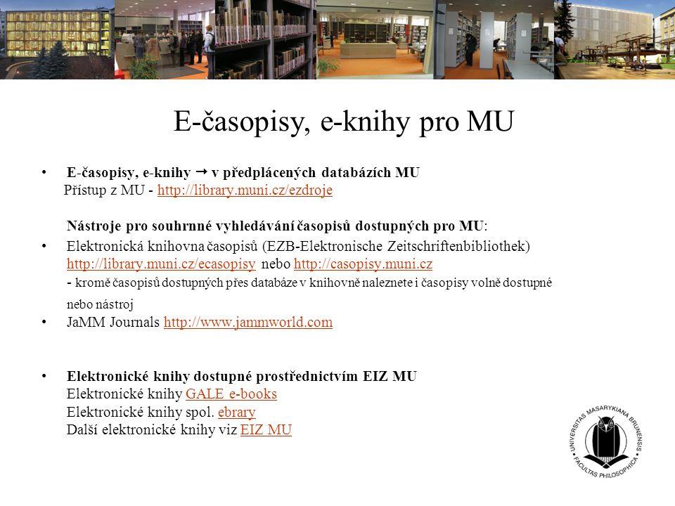 E-časopisy, e-knihy pro MU