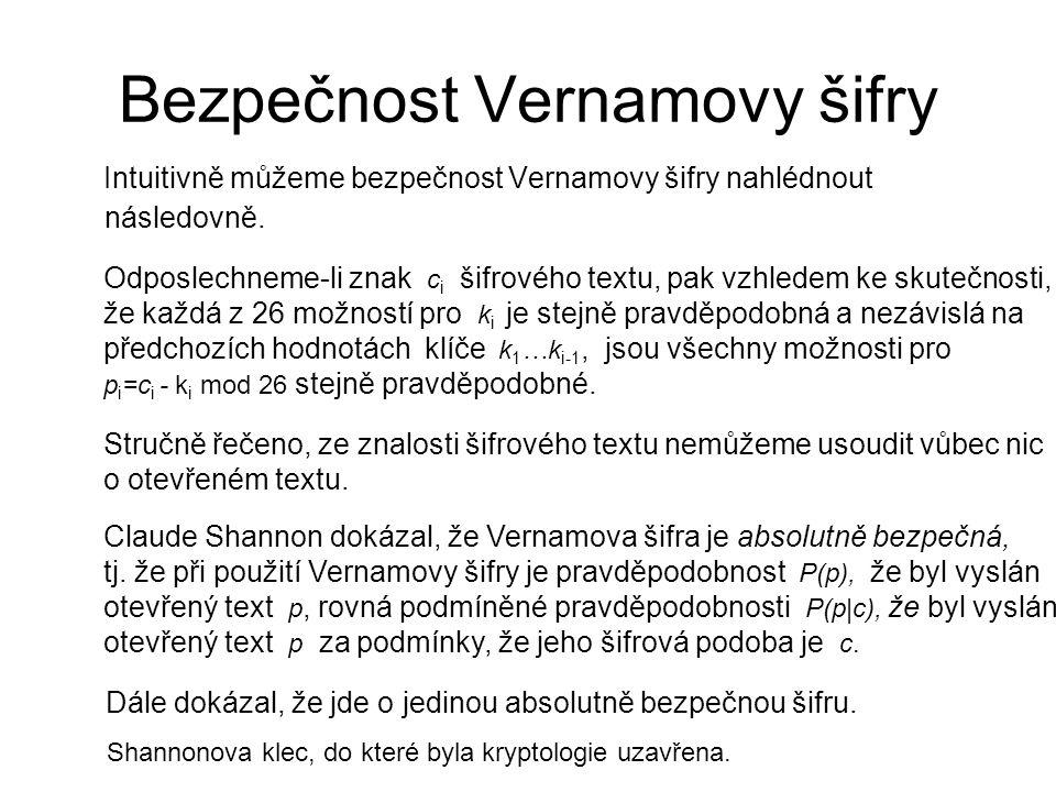 Bezpečnost Vernamovy šifry
