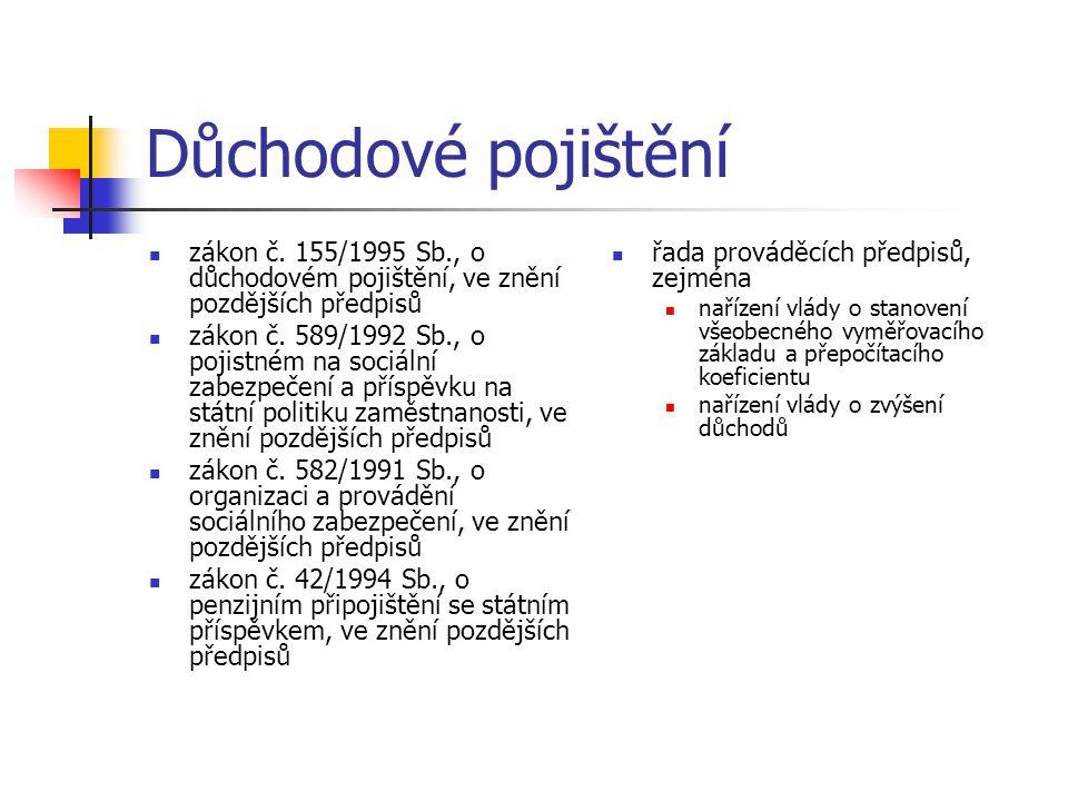 Důchodové pojištění zákon č. 155/1995 Sb., o důchodovém pojištění, ve znění pozdějších předpisů.