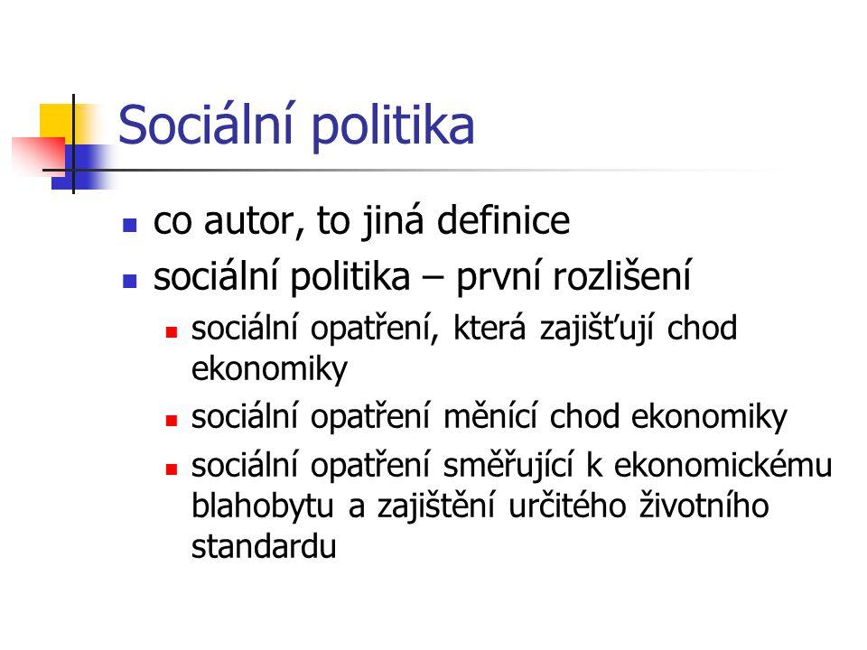 Sociální politika co autor, to jiná definice