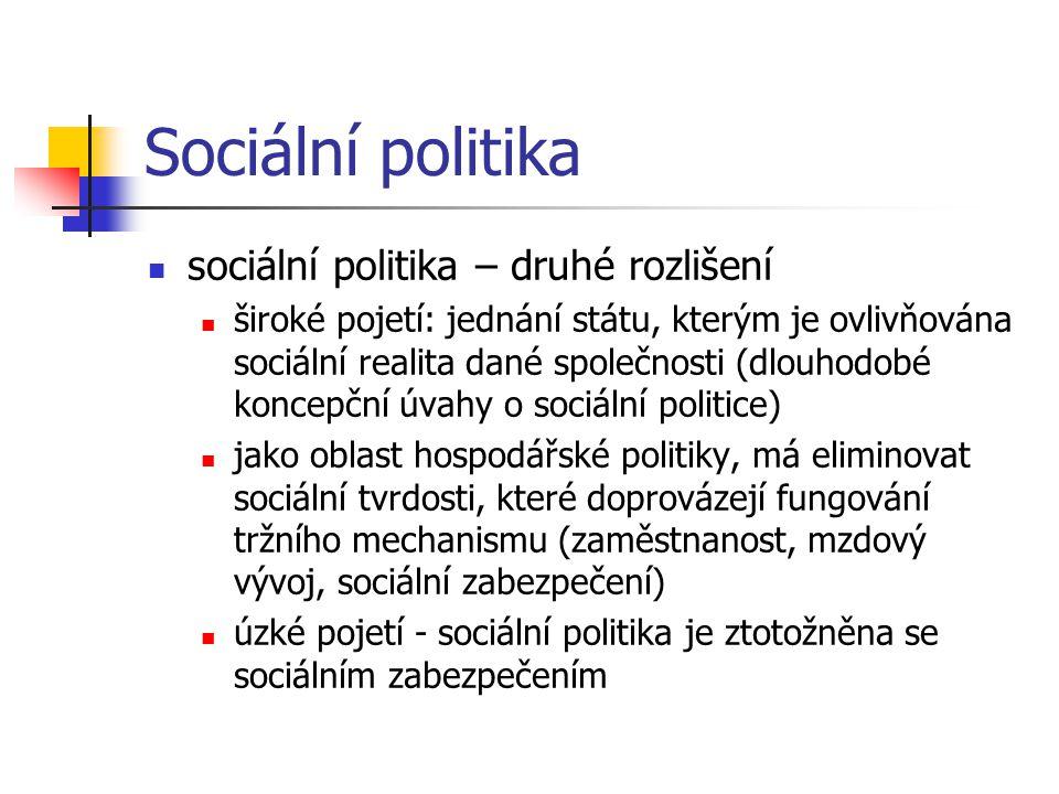 Sociální politika sociální politika – druhé rozlišení