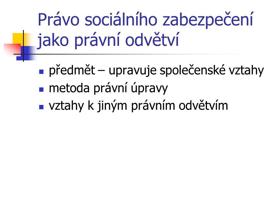 Právo sociálního zabezpečení jako právní odvětví