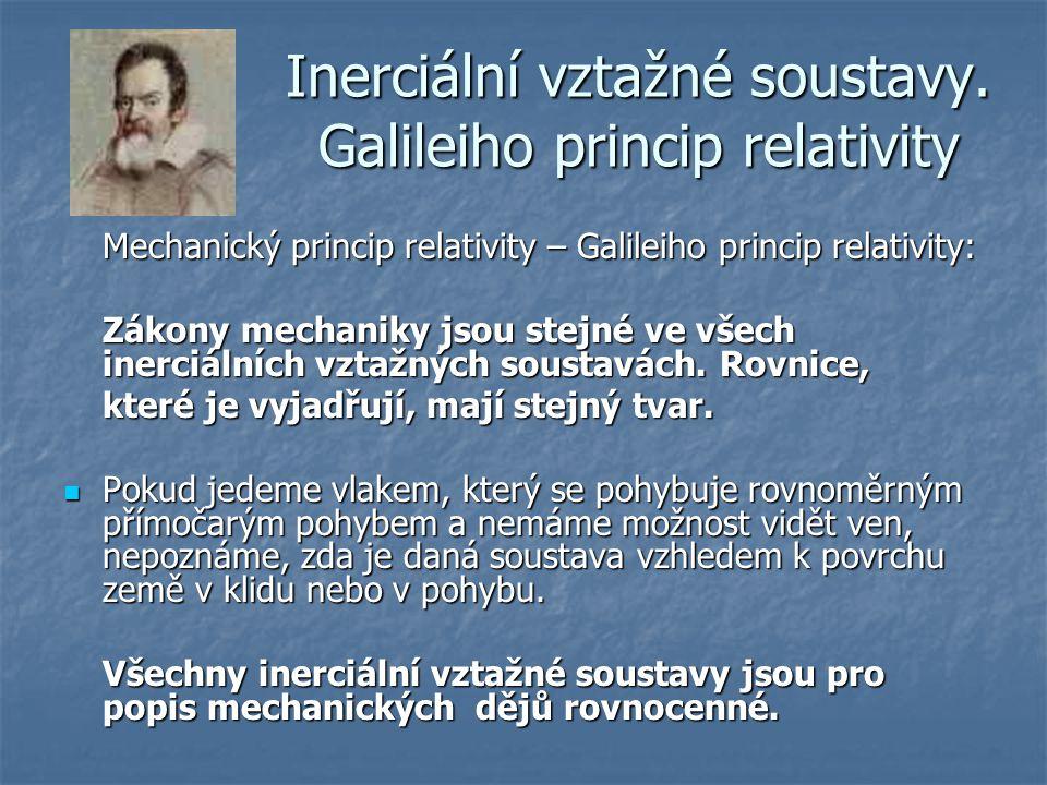 Inerciální vztažné soustavy. Galileiho princip relativity