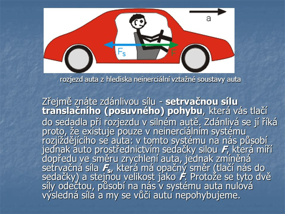 rozjezd auta z hlediska neinerciální vztažné soustavy auta