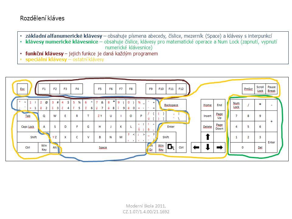 Rozdělení kláves základní alfanumerické klávesy – obsahuje písmena abecedy, číslice, mezerník (Space) a klávesy s interpunkcí.