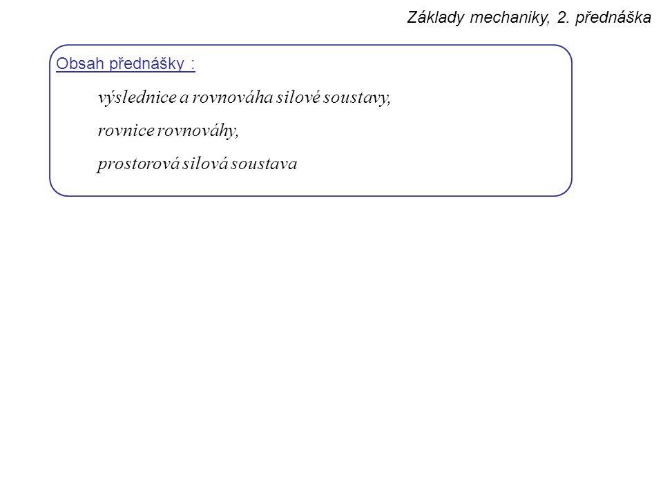 výslednice a rovnováha silové soustavy, rovnice rovnováhy,