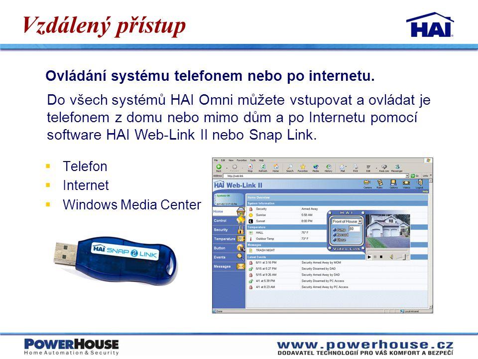 Vzdálený přístup Ovládání systému telefonem nebo po internetu.