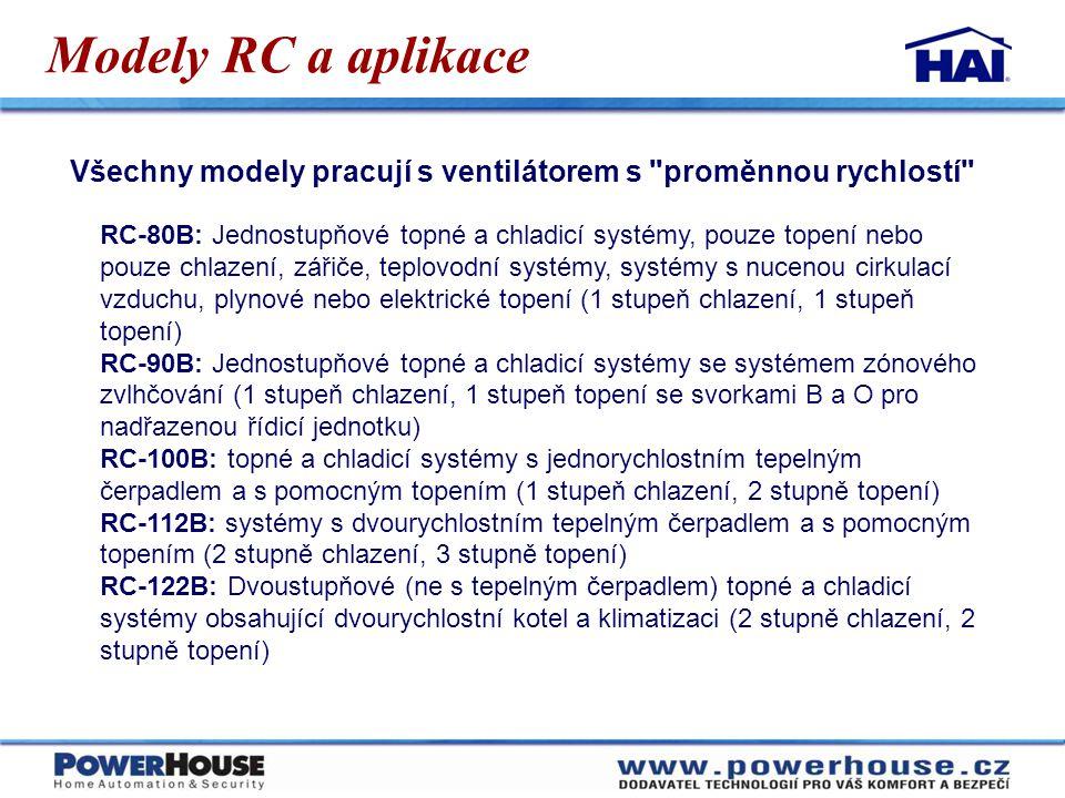 Modely RC a aplikace Všechny modely pracují s ventilátorem s proměnnou rychlostí