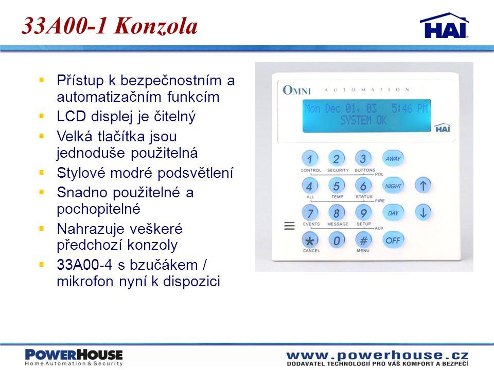 33A00-1 Konzola Přístup k bezpečnostním a automatizačním funkcím