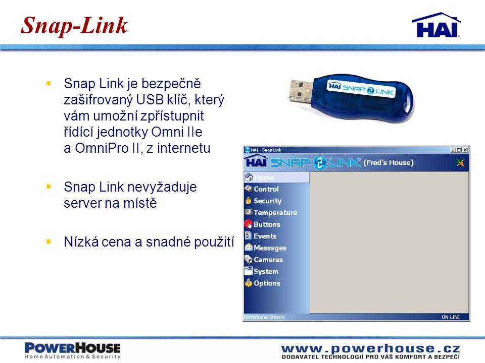 Snap-Link Snap Link je bezpečně zašifrovaný USB klíč, který vám umožní zpřístupnit řídící jednotky Omni IIe a OmniPro II, z internetu.