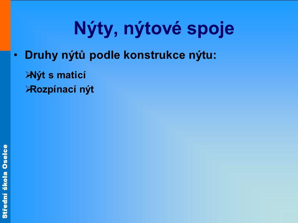 Nýty, nýtové spoje Druhy nýtů podle konstrukce nýtu: Nýt s maticí