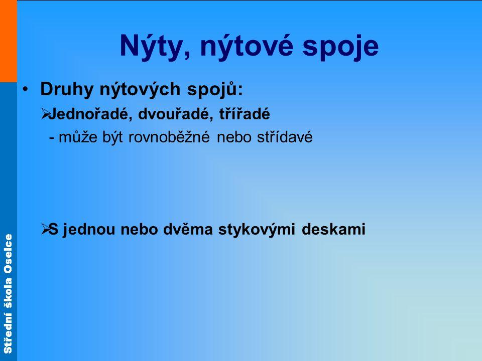 Nýty, nýtové spoje Druhy nýtových spojů: Jednořadé, dvouřadé, třířadé