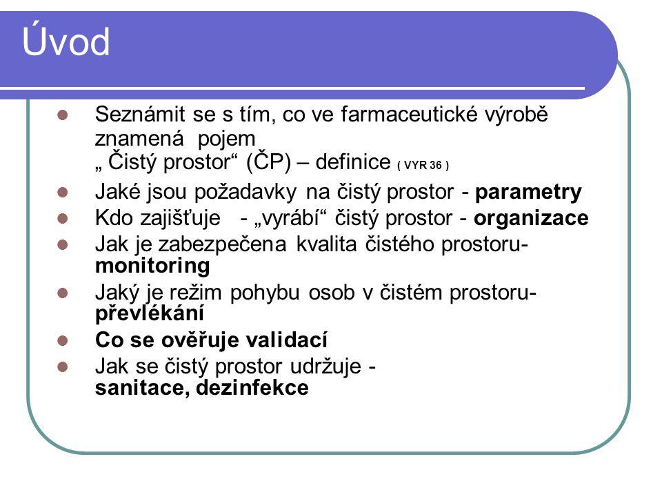 """Úvod Seznámit se s tím, co ve farmaceutické výrobě znamená pojem """" Čistý prostor (ČP) – definice ( VYR 36 )"""