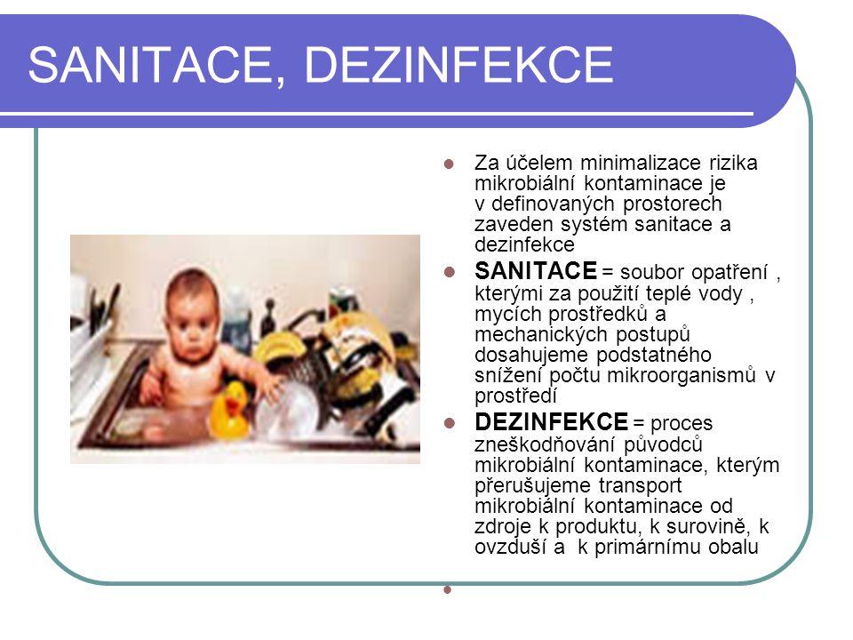 SANITACE, DEZINFEKCE Za účelem minimalizace rizika mikrobiální kontaminace je v definovaných prostorech zaveden systém sanitace a dezinfekce.