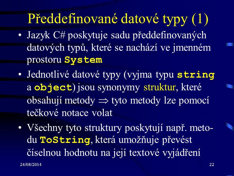 Předdefinované datové typy (1)