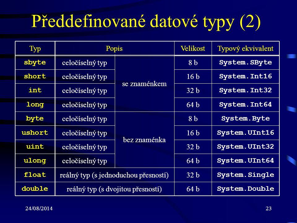 Předdefinované datové typy (2)