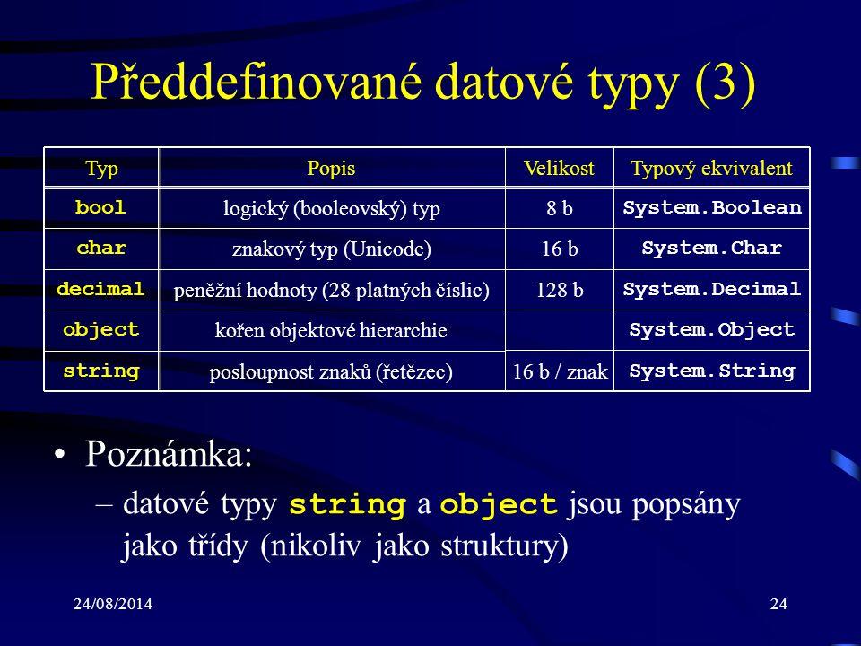 Předdefinované datové typy (3)