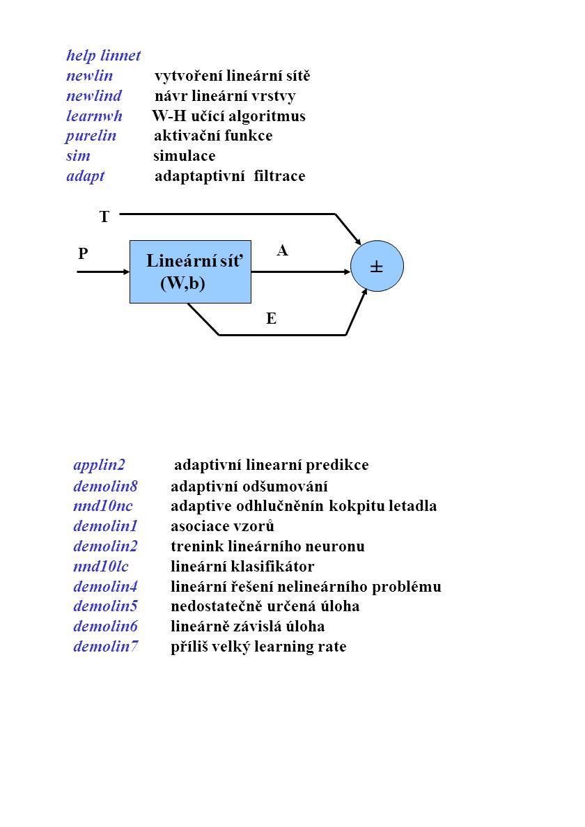 ± Lineární síť (W,b) help linnet newlin vytvoření lineární sítě