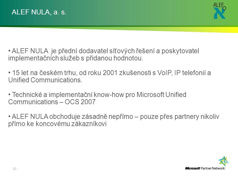 ALEF NULA, a. s. ALEF NULA je přední dodavatel síťových řešení a poskytovatel implementačních služeb s přidanou hodnotou.